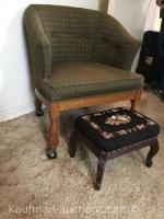 Uph antique chair on caster & footstool