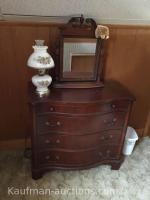 Dresser, small swivel mirror & Painted Electric lamp