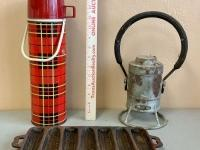 Antique Lantern, Thermos and Cast Iron Cornbread Pan