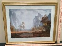 Framed Landscape Art Print - Looking Up the Yosemite Valley - Albert Bierstadt