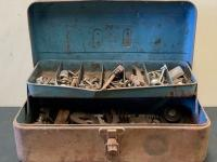 Vintage Metal Tool Box with Hardware