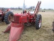Farmall super C with 1 row mounted corn picker 14 M