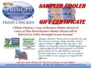 SPRINGER MOUNTAIN FARMS -  2 Whole Chickens, 4 trays of Boneless Skinless Breasts & 4 trays of Thin Sliced Boneless Skinless Breasts will be delivered via FedEx Overnight to your doorstep!  - DONATED BY GUS ARRANDALE AND ALL THE GREAT FOLKS AT SPRINGER...