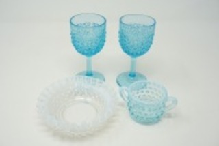 VINTAGE ART GLASS SERVING PIECES INCLUDING STEMS, CREAM, AND RUFFLE EDGE HOBNAIL BOWL