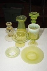 VINTAGE ART GLASS PIECES INCLUDING 1920S FROSTED URANIUM GLASS SAUCER