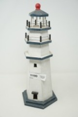 LARGE WOOD LIGHTHOUSE FIGURINE