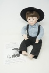 DANBURY MINT BISQUE PORCELAIN DOLL, JOSHUA