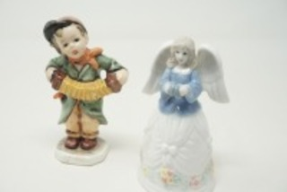VINTAGE FRIEDEL WEST GERMAN FIGURINE AND PORCELAIN ANGEL BELL
