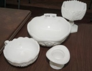 VINTAGE FORMAL MILK GLASS SERVING PIECES