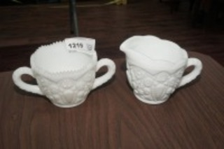 VINTAGE SIGNED MILK GLASS CREAM AND SUGAR