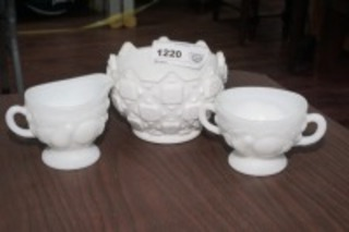VINTAGE WESTMORELAND CREAM, SUGAR, AND BOWL