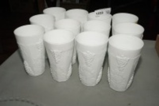 VINTAGE CRATE MOTIF MILK GLASS TUMBLERS, 12 PIECES
