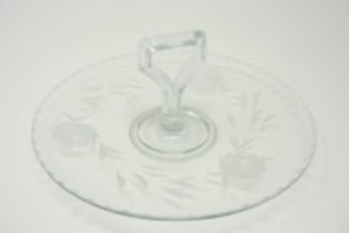 ETCHED GLASS CENTER HANDLE TIDBIT TRAY