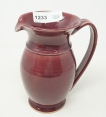 STAMPED GLAZED POTTERY PITCHER