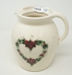 LARGE HEART WREATH MOTIF POTTERY PITCHER