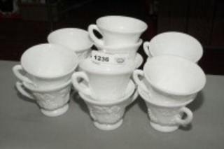 VINTAGE GRAPE MOTIF MILK GLASS MUGS, 13 PIECES