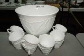 VINTAGE FOOTED MILK GLASS PUNCH BOWL AND MATCHING MUGS
