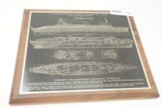 "PLAQUE, THE FRENCH QUADRUPLE-SCREW TURBO ELECTRIC NORTH ATLANTIC LINER ""NORMANDIE"""
