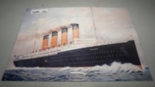 METAL SIGN, CUNARD LINE NEW YORK LIVERPOOL, LUSITANIA