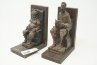 OLD HAND CARVED WOODEN BOOKENDS
