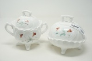 HAND-PAINTED LARGE SUGAR AND LIDDED CANDY DISH