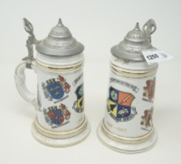 PAIR OF VINTAGE EUROPEAN STEINS, FREEDOM THROUGH VIGILANCE, USAF SECURITY SERVICE, 1963 - 1967