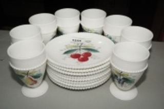 VINTAGE HAND PAINTED MILK GLASS FOOTED STEMS AND PLATES, FRUIT MOTIF