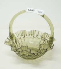 VINTAGE ART GLASS BASKET