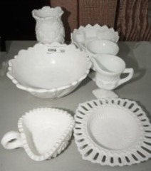 VINTAGE MILK GLASS, 7 PIECES