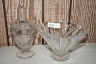 LARGE CRYSTAL FOOTED BOWL AND COVERED CANDY DISH