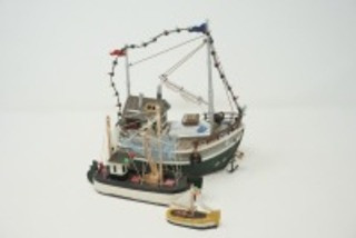 VINTAGE SHRIMP BOAT AND SAILBOAT FIGURINES