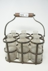 ANTIQUE METAL MILK BOTTLE CARRIER WITH GLASS MILK BOTTLES AND BONUS BOTTLES