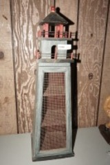 LIGHTHOUSE CURIO WITH WIRE SCREEN DOOR