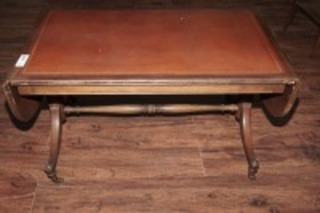 OLD INLAID DROP LEAF COFFEE TABLE ON CASTERS