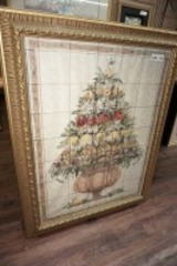 LARGE NICELY FRAMED TILE ART, FLORAL STILL LIFE
