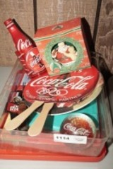 COCA-COLA COLLECTIBLES INCLUDING OLD ICE PICK, OLYMPIC FANS, CHATTANOOGA PAPERWEIGHT, AND MORE