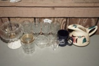 VINTAGE CRYSTAL STEMS, PAINTED POTTERY PITCHER, AND MORE