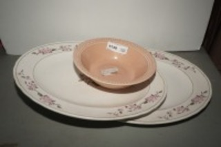 LARGE PORCELAIN PLATTERS AND VINTAGE LAURELLA UNIVERSAL VEGETABLE BOWL