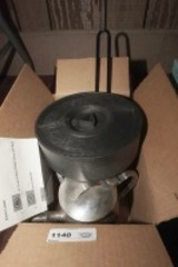 BOX LOT OF KITCHEN ITEMS INCLUDING TORTILLA SHELL CASE, PAPER TOWEL STAND, STAINLESS WATER PITCHER, PRESSES, AND MORE