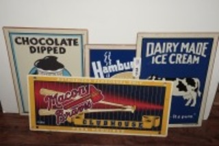 SIGNS INCLUDING MACON BRAVES, DAIRY MADE ICE CREAM, HAMBURGERS, AND CHOCOLATE DIPPED ICE CREAM