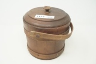 WOODEN BARREL BOX WITH HANDLE AND LID