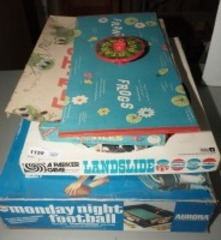 VINTAGE GAMES INCLUDING PHRENIC FROGS, LANDSLIDE, MONDAY NIGHT FOOTBALL, AND MORE