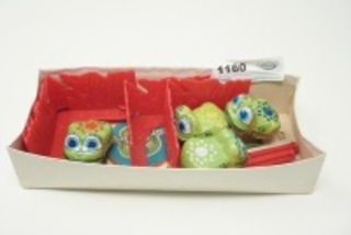 VINTAGE METAL WIND UP HOPPING FROG TOYS, MADE IN JAPAN