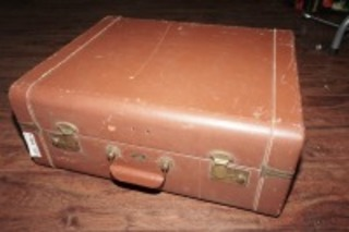 OLD MERCURY LUGGAGE HARDSIDE LEATHER SUITCASE