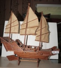 LARGE WOODEN SAILING SHIP MODEL WITH STAND
