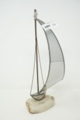 SIGNED MARBLE BASE METAL SAILBOAT SCULPTURE WITH MIRRORED SURFACES