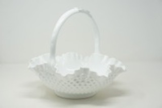 VINTAGE MILK GLASS HOBNAIL BASKET