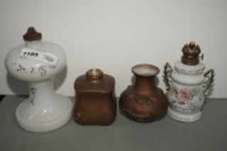 ANTIQUE OIL LAMPS, SHADE, AND OLD HAND-PAINTED BOTTLE
