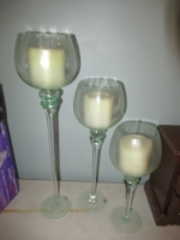 3 GLASS CANDLE HOLDERS WITH CANDLES - (BR1)