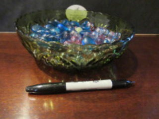 GREEN GLASS CANDY BOWL WITH GLASS MARBLES - (BR1)